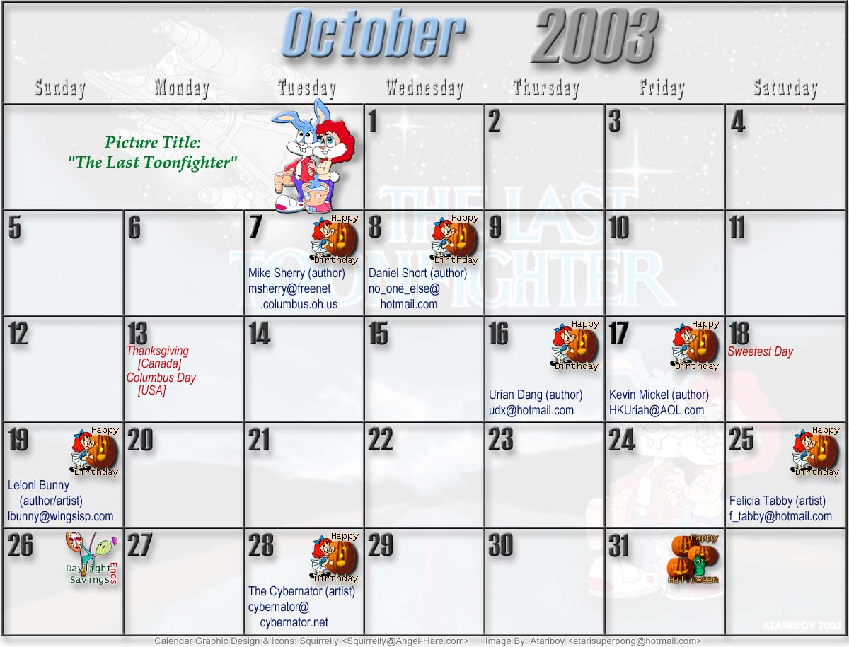 Tiny Toons 2003 Printable Calendar
