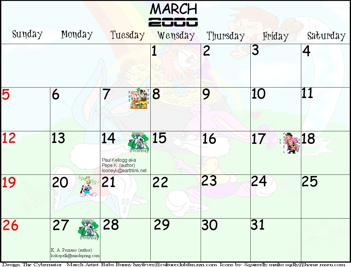 Tiny Toons 2000 Printable Calendar